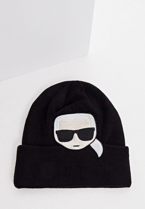женская шапка karl lagerfeld, черная