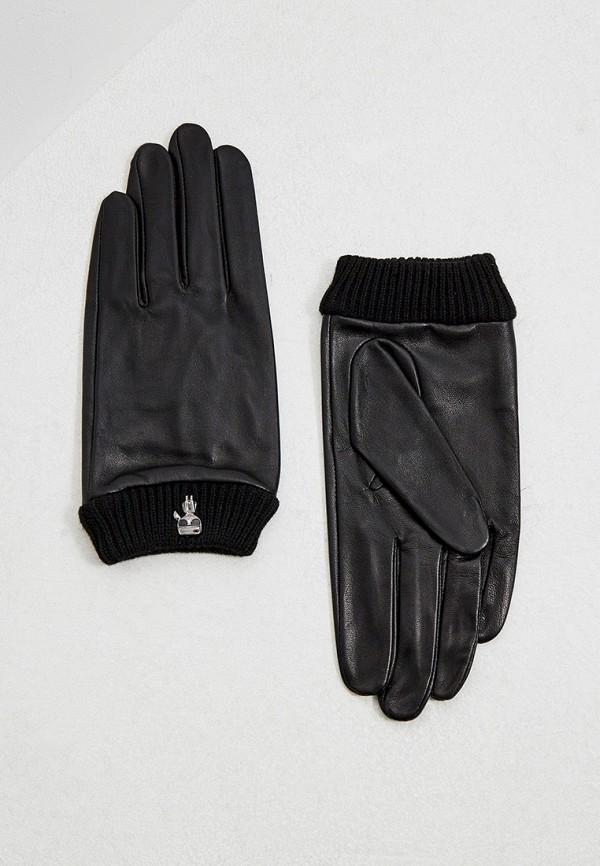 женские кожаные перчатки karl lagerfeld, черные