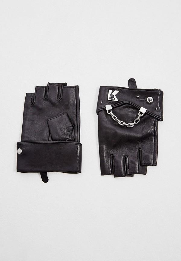 женские кожаные митенки karl lagerfeld, черные