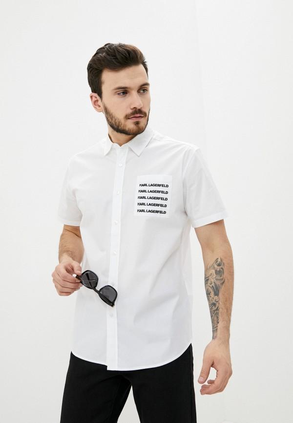 мужская рубашка с коротким рукавом karl lagerfeld, белая