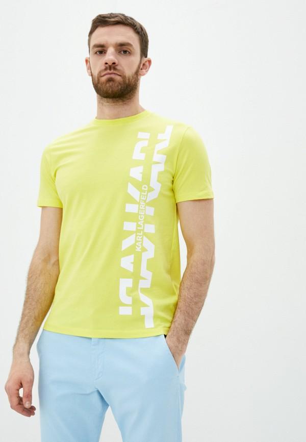 мужская футболка karl lagerfeld, желтая