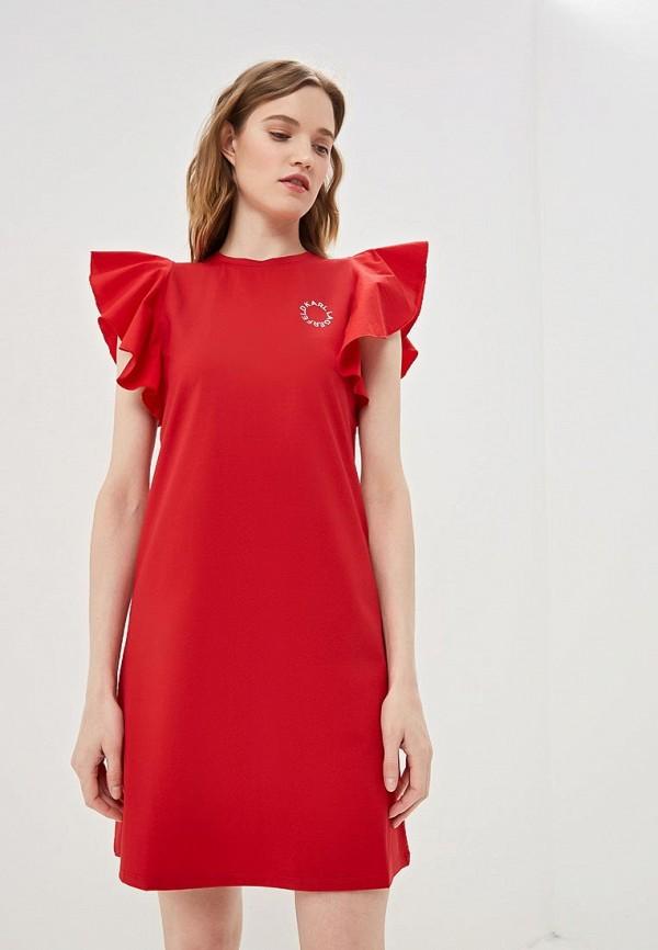 женское повседневные платье karl lagerfeld, красное