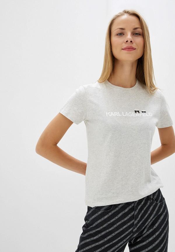 женская футболка karl lagerfeld, серая