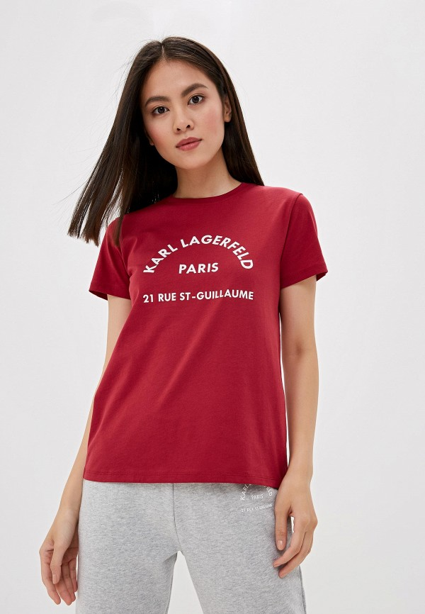 женская футболка karl lagerfeld, бордовая
