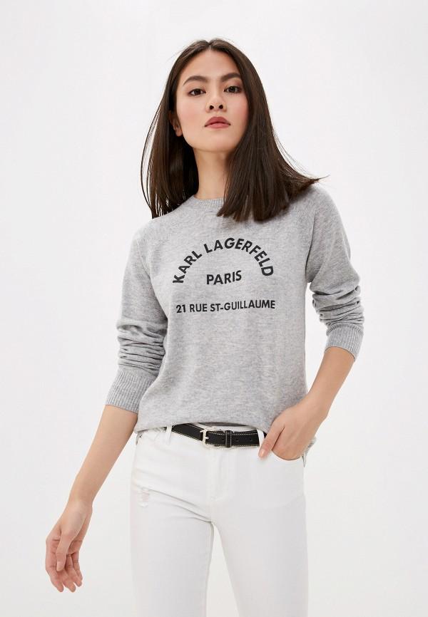 женский джемпер karl lagerfeld, серый
