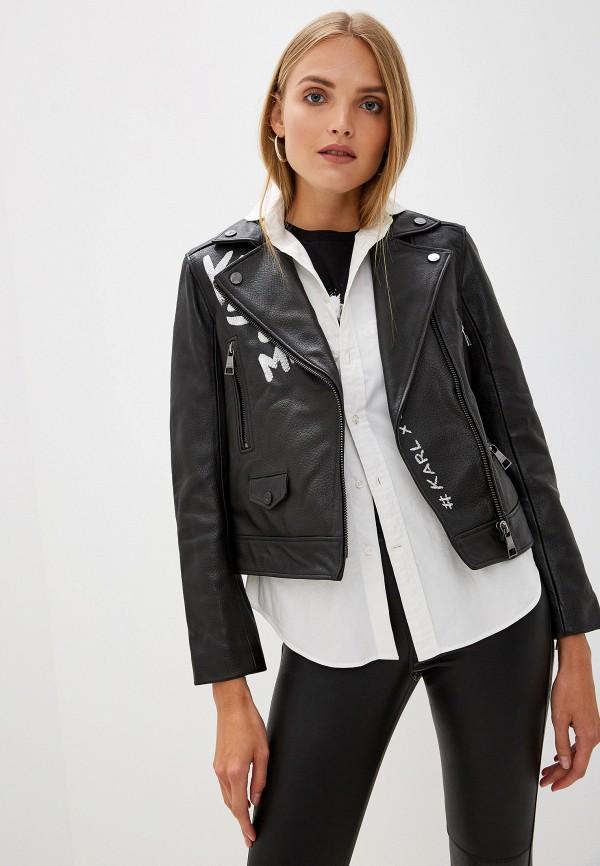 цена Куртка кожаная Karl Lagerfeld Karl Lagerfeld KA025EWFRDS1 онлайн в 2017 году