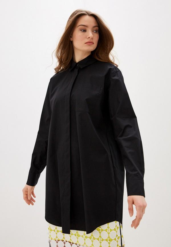 женская рубашка с длинным рукавом karl lagerfeld, черная