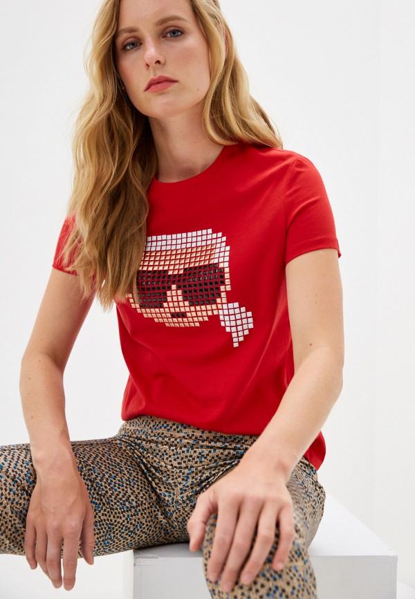 женская футболка karl lagerfeld, красная