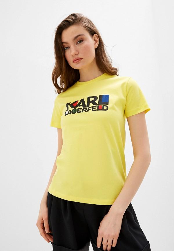 женская футболка karl lagerfeld, желтая