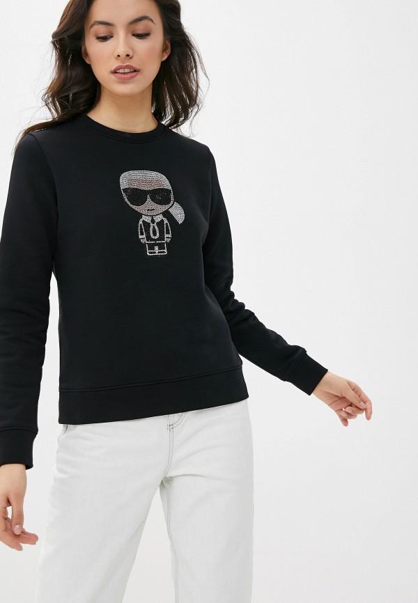 женский свитшот karl lagerfeld, черный