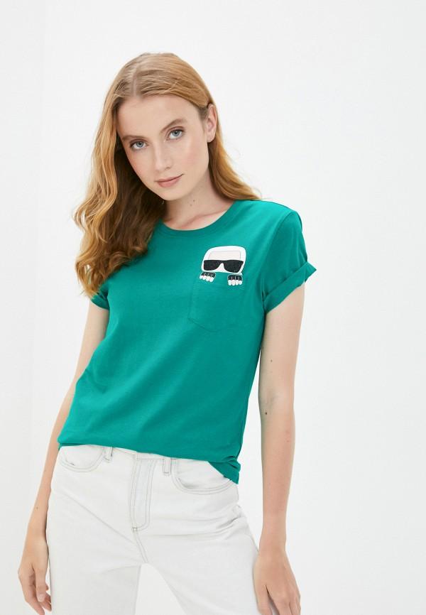 женская футболка karl lagerfeld, зеленая