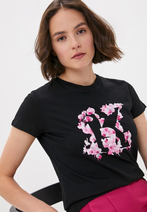 женская футболка karl lagerfeld, черная