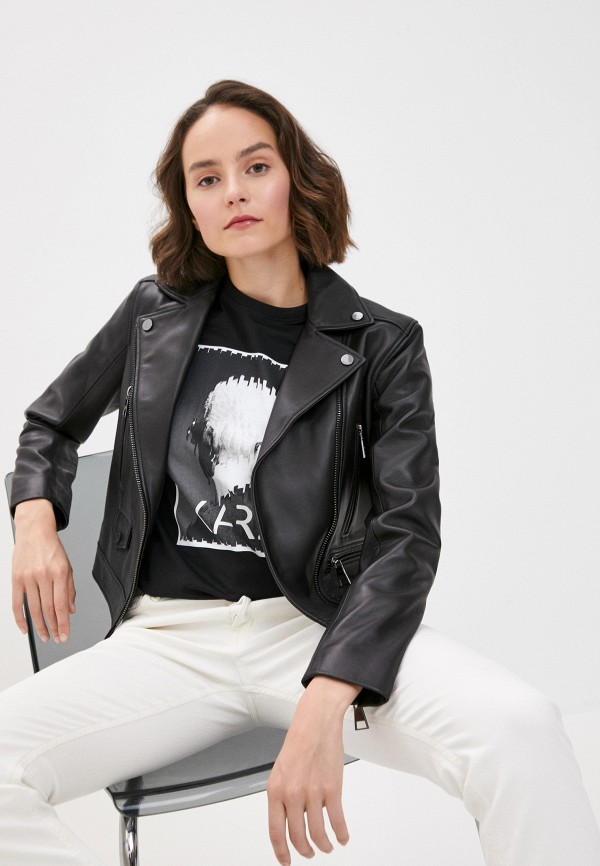 женская куртка karl lagerfeld, черная