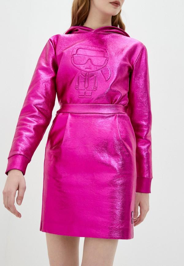 женская прямые юбка karl lagerfeld, розовая