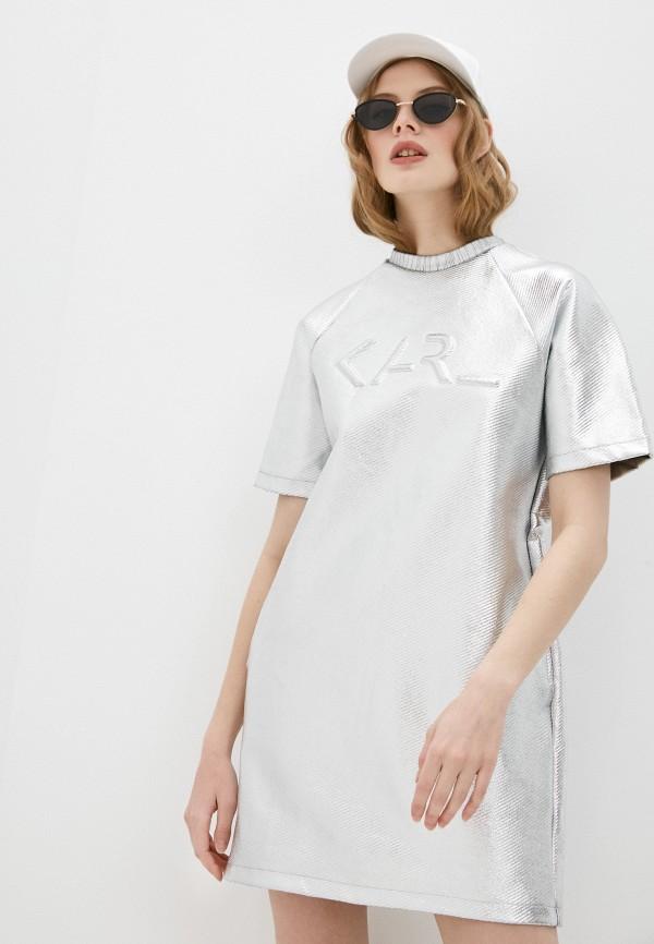 женское повседневные платье karl lagerfeld, серебряное