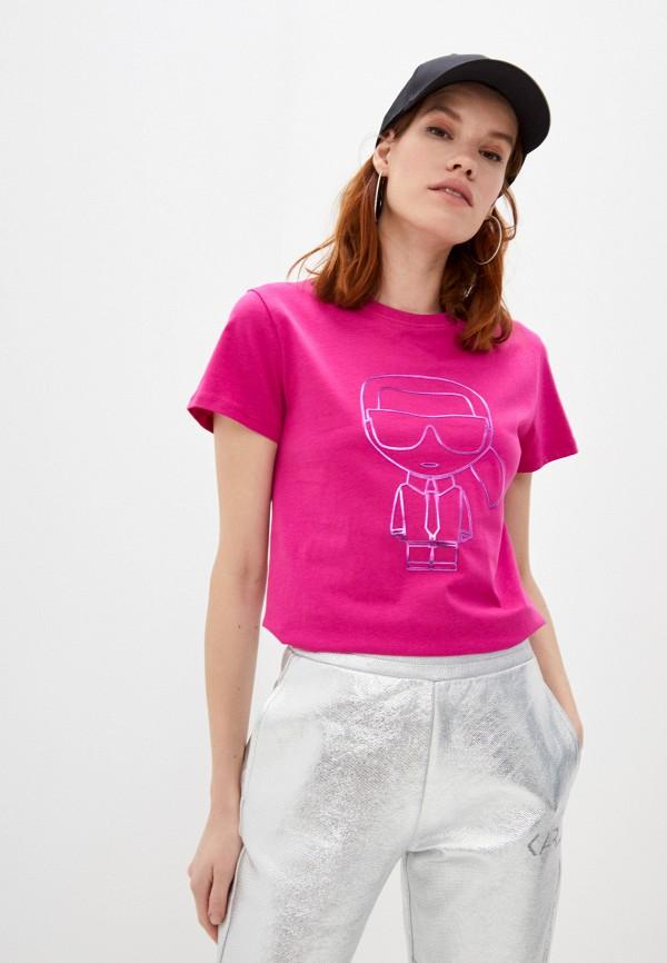 женская футболка karl lagerfeld, розовая
