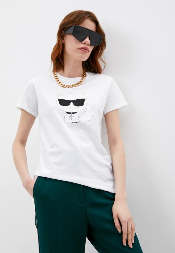 женская футболка karl lagerfeld, белая