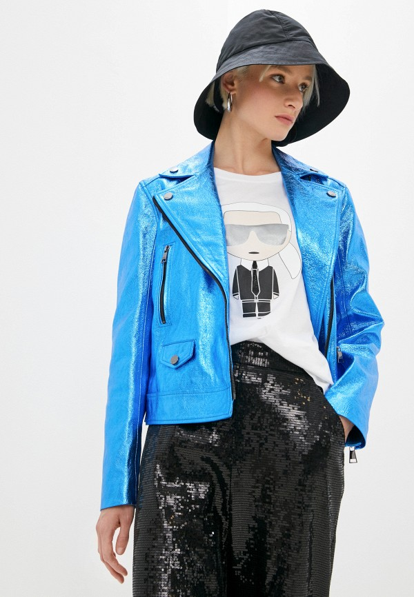женская куртка karl lagerfeld, синяя