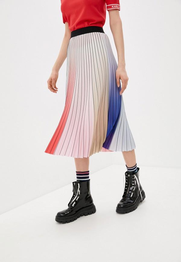 женская плиссированные юбка karl lagerfeld, разноцветная