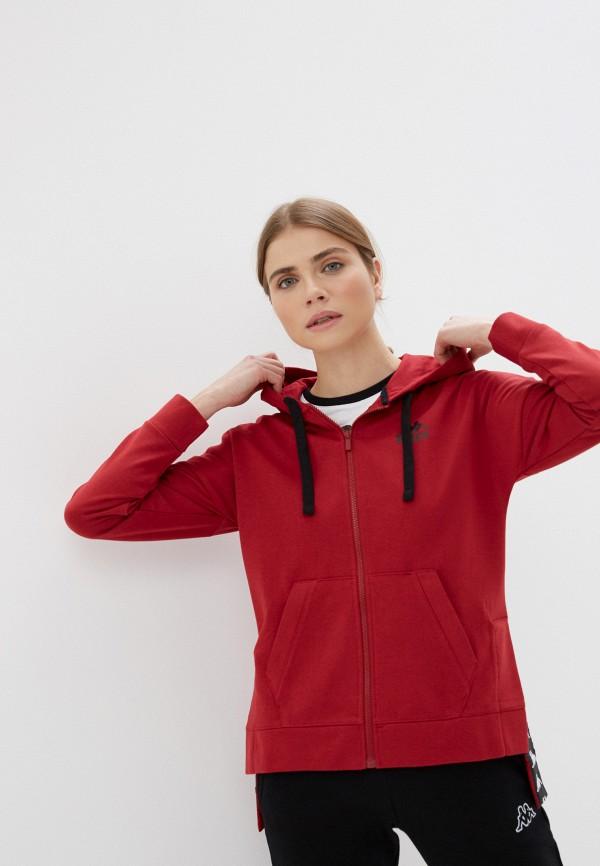 женская спортивные толстовка kappa, бордовая