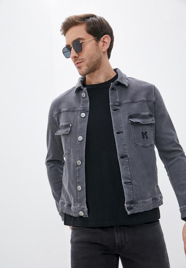 мужская джинсовые куртка karl lagerfeld denim, серая