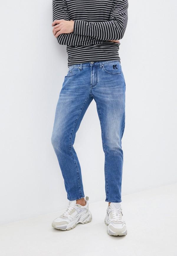 мужские зауженные джинсы karl lagerfeld denim, синие