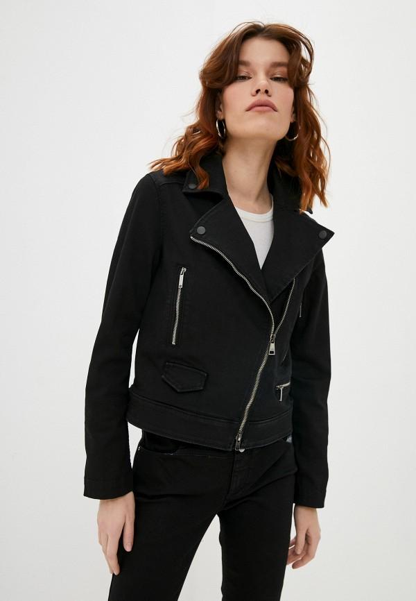 женская джинсовые куртка karl lagerfeld denim, черная