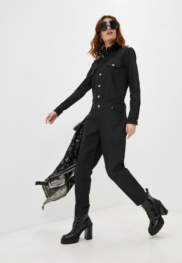 женский джинсовые комбинезон karl lagerfeld denim, черный