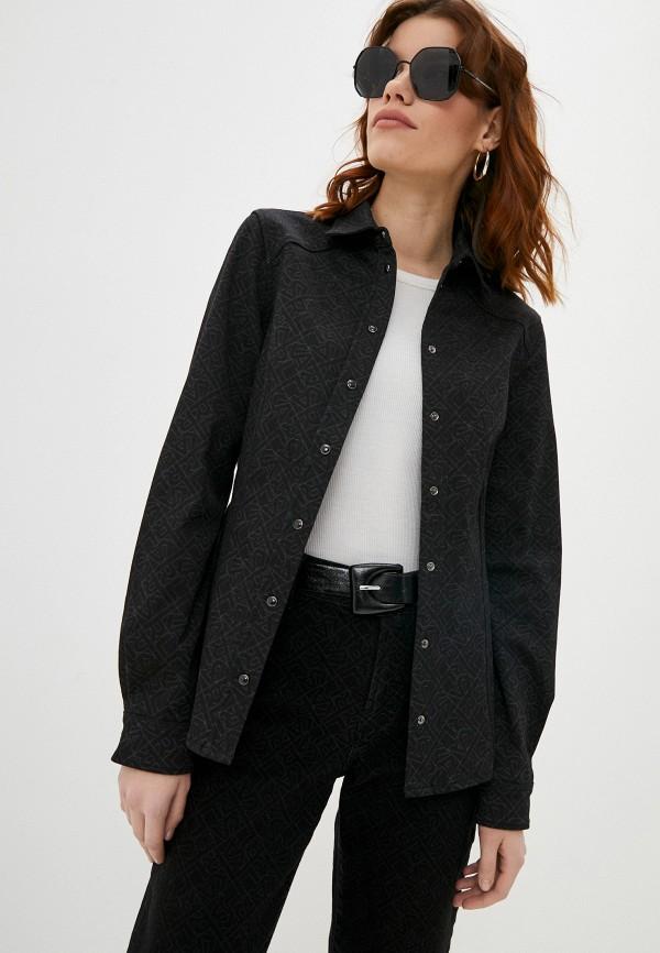 женская джинсовые рубашка karl lagerfeld denim, черная