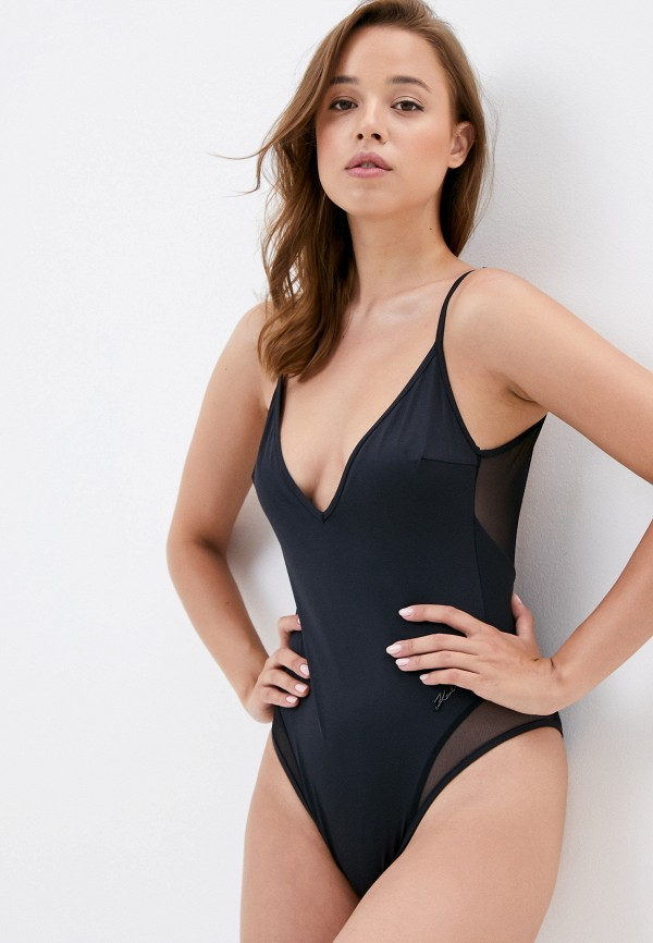 женский купальник karl lagerfeld beachwear, черный