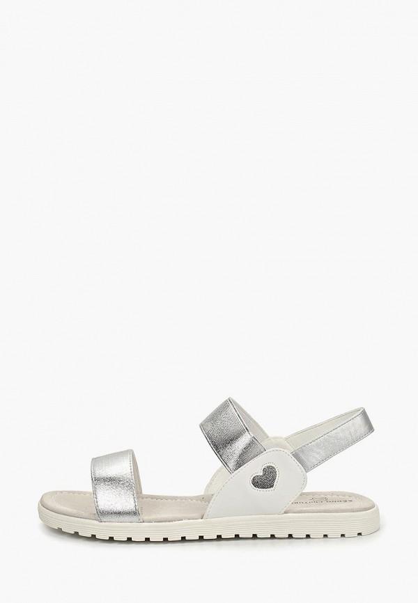 сандалии keddo для девочки, серебряные