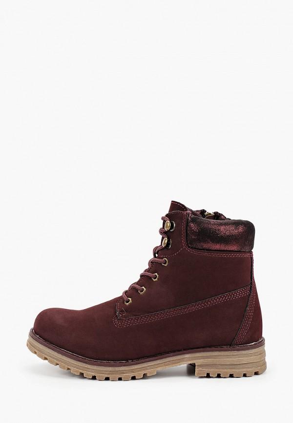 ботинки keddo для девочки, бордовые