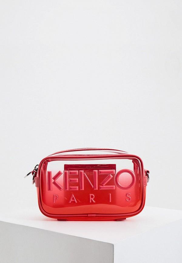 женская сумка через плечо kenzo, розовая