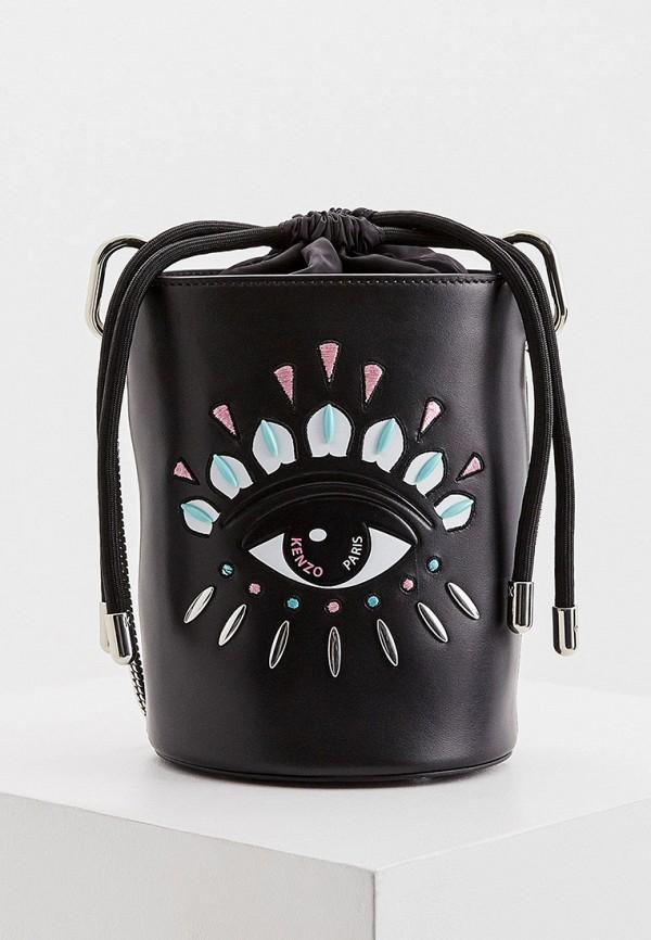 женская сумка-ведро kenzo, черная