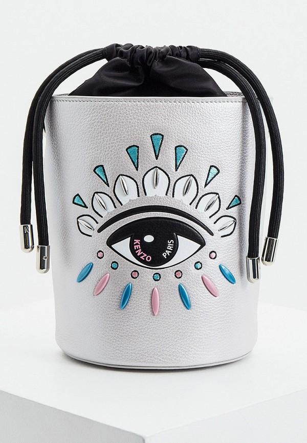 женская сумка через плечо kenzo, серебряная