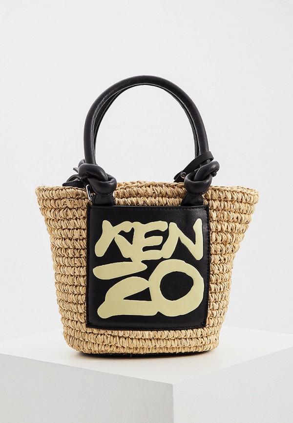 женская сумка с ручками kenzo, бежевая