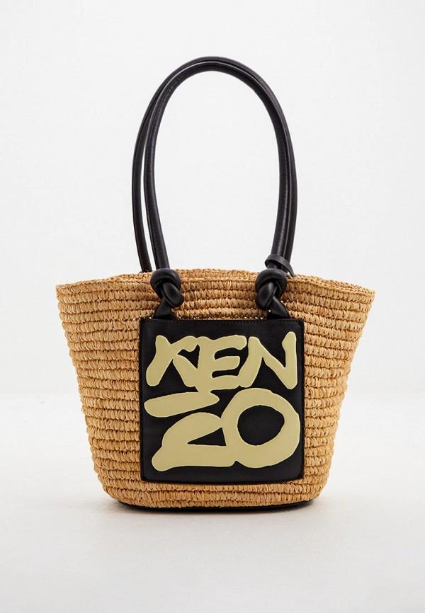 женская пляжные сумка kenzo, бежевая