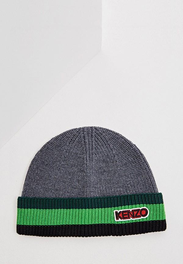 Фото - мужскую шапку Kenzo серого цвета
