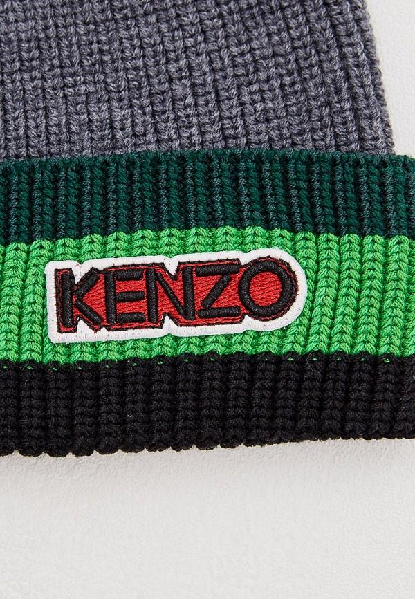 Фото 3 - мужскую шапку Kenzo серого цвета