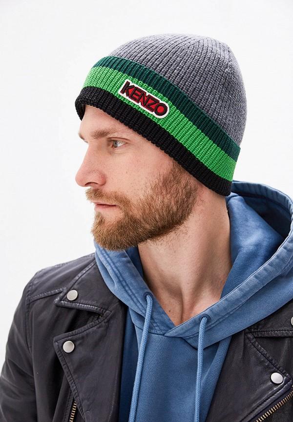 Фото 4 - мужскую шапку Kenzo серого цвета