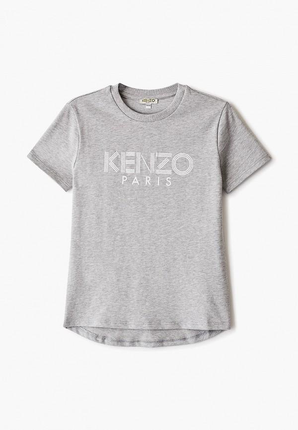 футболка kenzo для мальчика, серая