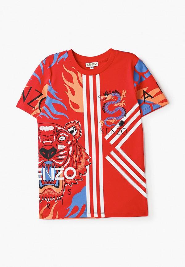 футболка с коротким рукавом kenzo для мальчика, красная