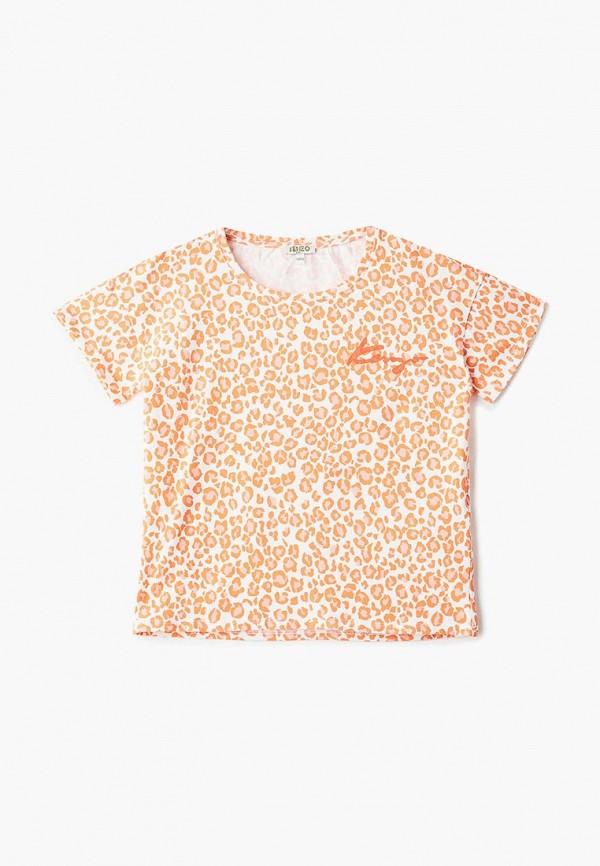 футболка с коротким рукавом kenzo для девочки, оранжевая