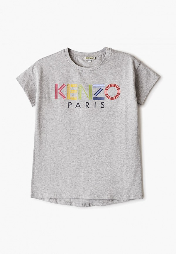 футболка с коротким рукавом kenzo для девочки, серая