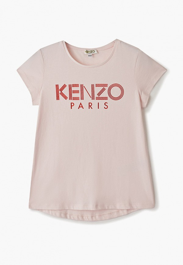 футболка с коротким рукавом kenzo для девочки, розовая
