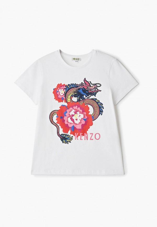футболка с коротким рукавом kenzo для девочки, белая