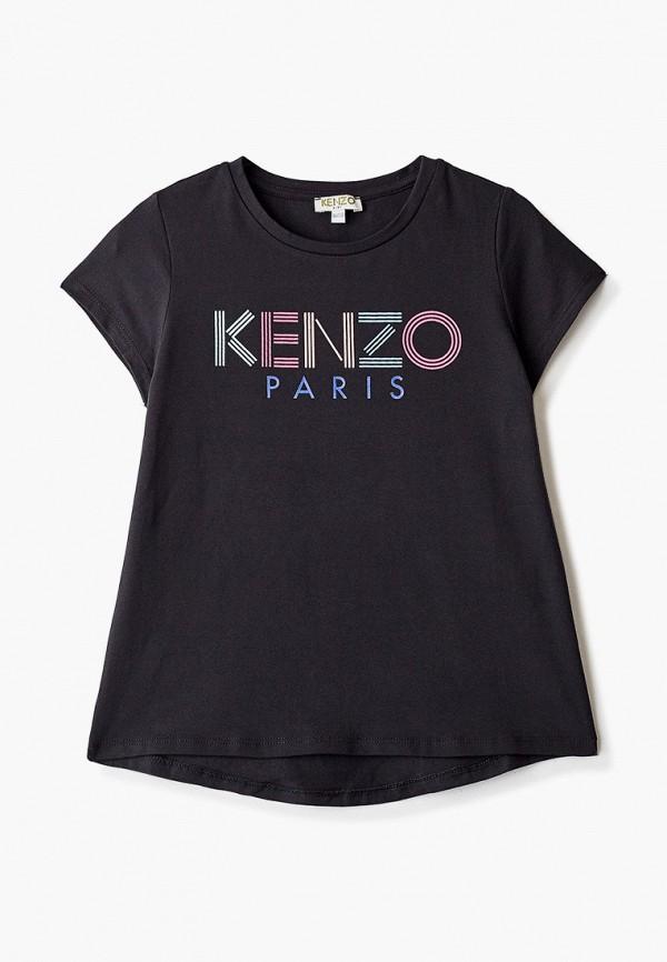 футболка с коротким рукавом kenzo для девочки, черная