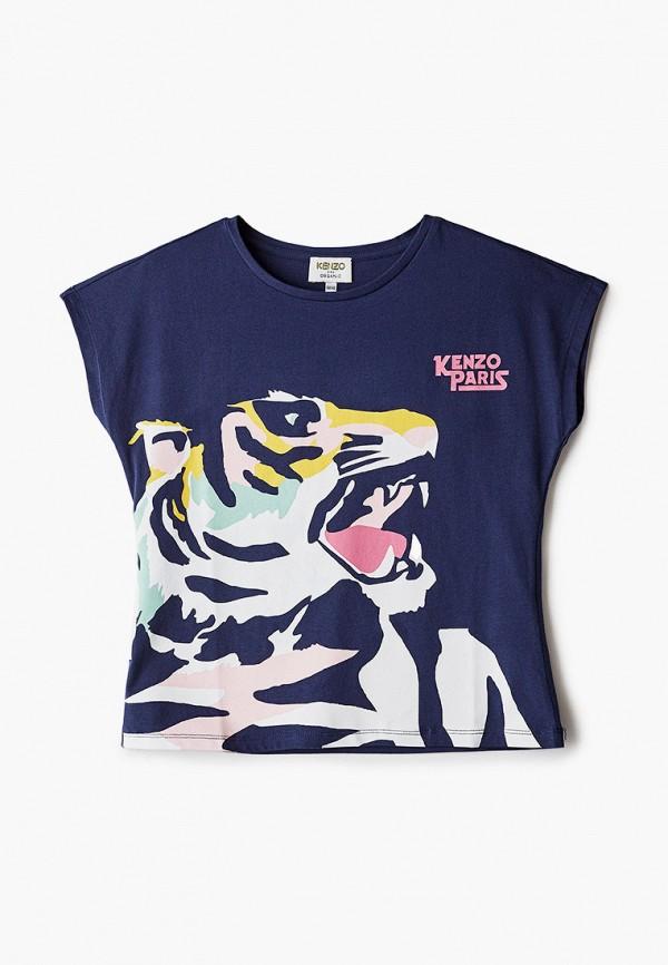 футболка с коротким рукавом kenzo для девочки, синяя