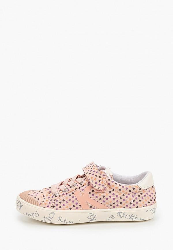 кеды kickers для девочки, розовые