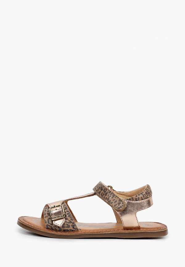 сандалии kickers для девочки, золотые